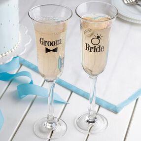 Bride & Groom Toasting Glasses