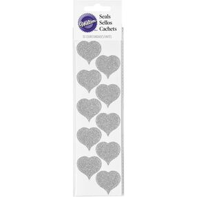 Silver Glitter Heart Wedding Stickers