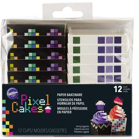 Pixel Cakes Square Paper Baking Cups in packaging