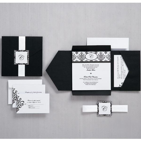 Black And White Scroll Monogram Pocket Invitation | Wilton