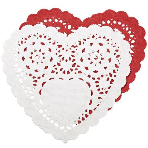 6 inch Red/White Assorted Doilies