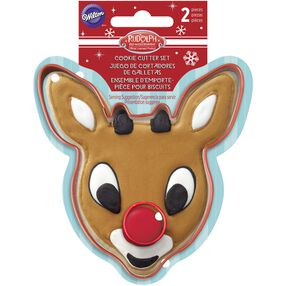 Wilton 2-Piece Rudolph the Red-Nosed Reindeer Cookie Cutter Set