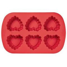 Silicone 6-Cavity Ruffled Heart Mold
