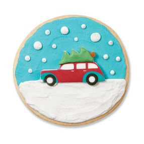 Wilton Car with Christmas Tree Royal Icing Decorations, 12-Ct.