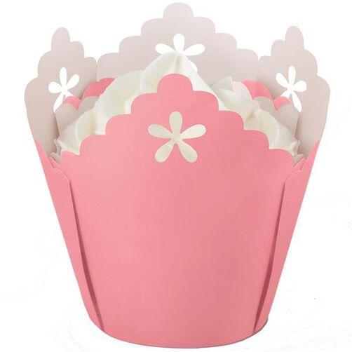 Pink Flower Eyelet Baking Cup