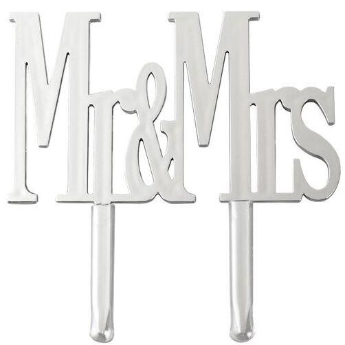 Mr. & Mrs. Silver Cake Pick