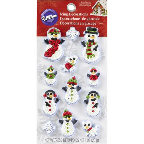 Christmas Cake Icing Decoration Ideas : Wilton Christmas Snowman Family Icing Decorations Wilton