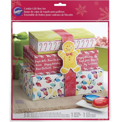 3-Piece Stacking Christmas Treat Box Set