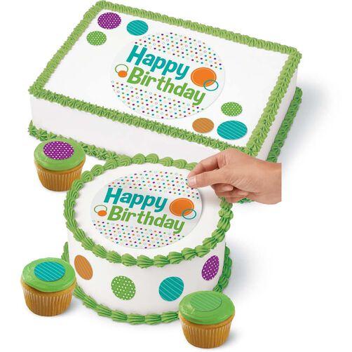 Wilton Cake Decorating Kit 2 : Polka Dot Cake Peel & Place Sugar Sheets Decorating Kit ...