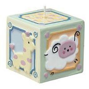 Yellow & Green Baby Block Candle