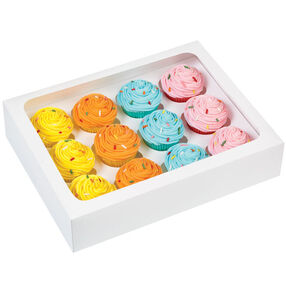 12 Cavity White Mini Cupcake Box w/Window