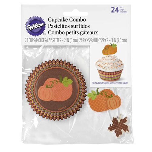 Thanksgiving Cupcake Baking Cups and Picks Combo