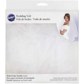 White Rolled Edge Double Layer Bridal Veil