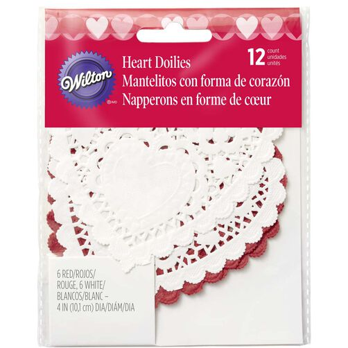 "4"" Red & White Doilies"