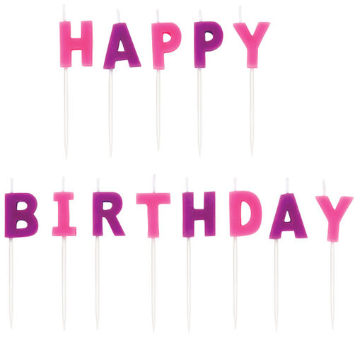 Pink Happy Birthday Candle Pick Sets