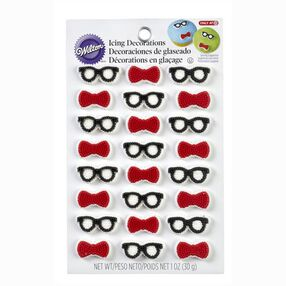 Wilton Bow Ties & Glasses Mini Icing Decorations, 24-Ct.