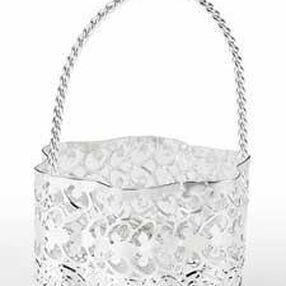 Silver Flower Shape Favor Basket