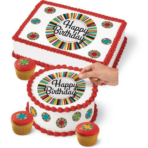 Birthday Cake Peel & Place Sugar Sheets Decorating Kit ...