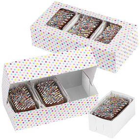 Wilton Multicolored Dots Rectangular Treat Box with 3 Removable Trays, 3 Count Pack 415-1991