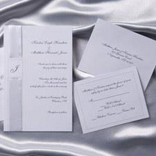 Monogram Wedding Invitation Kit in White