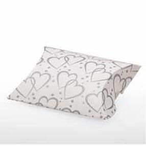 Silver Heart Pillow Favor Boxes