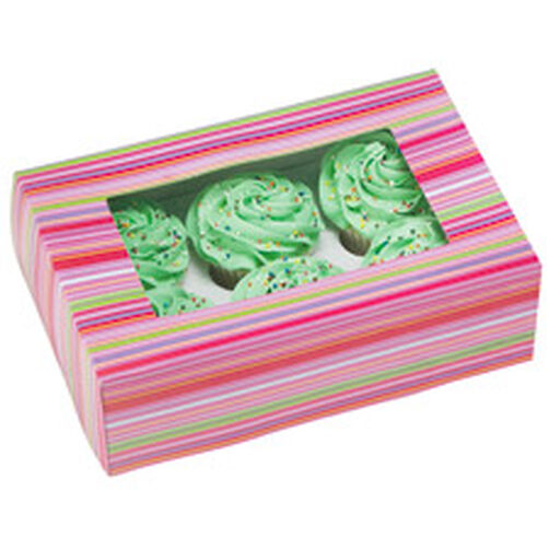 Snappy Stripes Cupcake Boxes (Holds 6)
