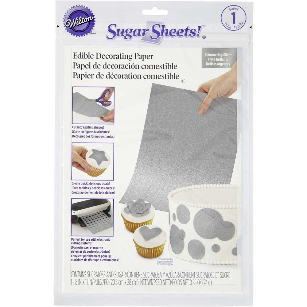 Shimmering Silver Sugar Sheets Edible Decorating Paper