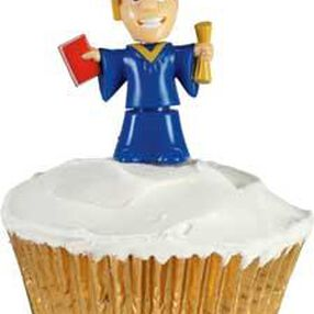 Male Graduation Bobbling Cupcake Topper