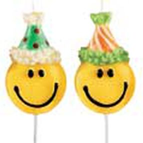 Smiley Faces with Hats Candle Pick Set