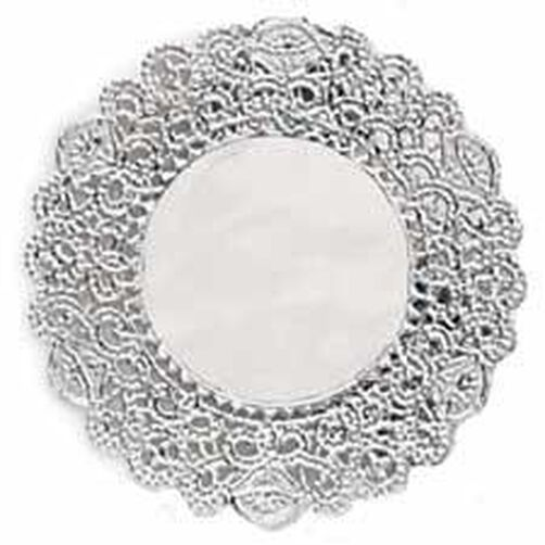 4 in. Round Silver Foil Cake Doilies