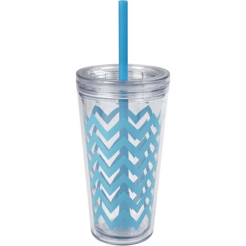 Minimus Cyan Blue Chevron Tumbler