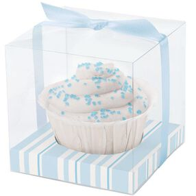 Blue Stripes Clear Favor Box