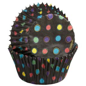 Wilton Multicolored Dots on Black Baking Cups, 75 Ct. 415-2277
