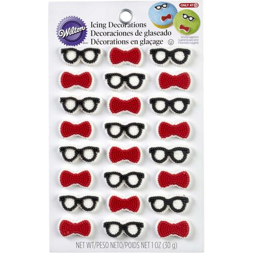 Bow Ties & Glasses Mini Icing Decorations