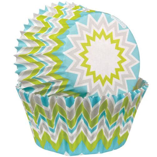 Chevron Lime Standard Baking Cups