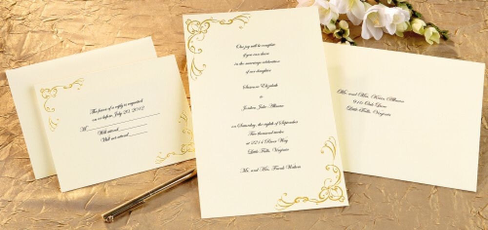 Scrollwork Wedding Invitation Kit Gold – Gold Wedding Invitation Kit
