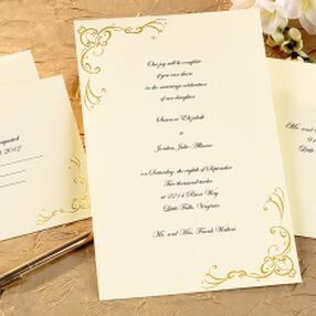 Scrollwork Wedding Invitation Kit, Gold
