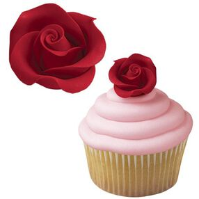 Red Rose Medium Icing Decorations