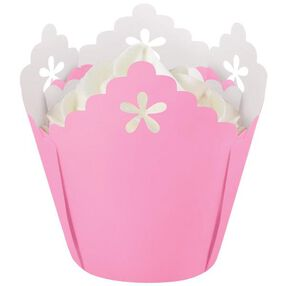 Pink Flower Pleated Baking Cups