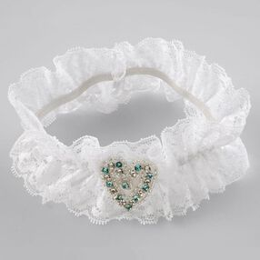 Lace Garter with Rhinestone Heart