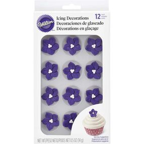 Wilton Purple Posy Royal Icing Decorations