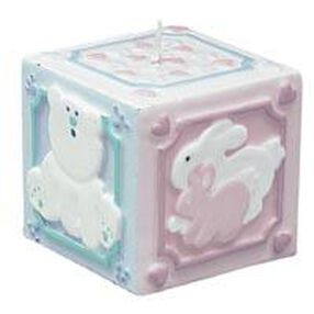 Pink & Blue Baby Block Candle