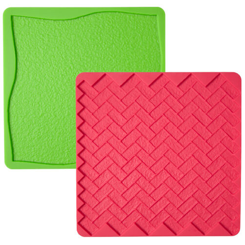 Grass/Brick 2-Pc. Silicone Texture Mat Set