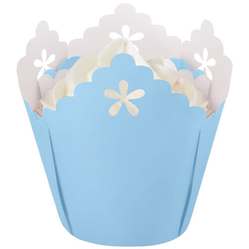 Blue Flower Pleated Baking Cups