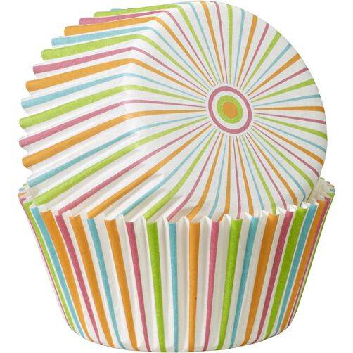 Multicolor Stripe Cupcake Liners