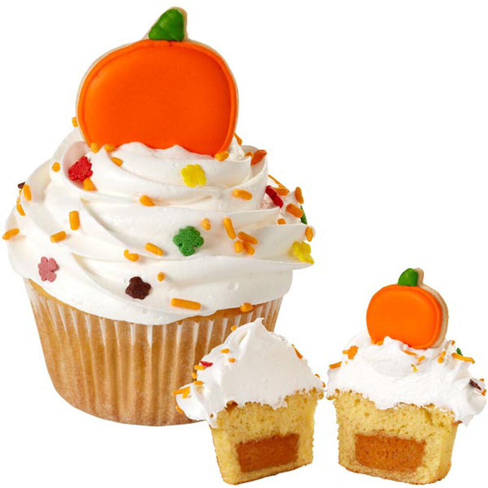 Wilton Cake Decorating Ideas For Thanksgiving : Pumpkin Pie-Filled Cupcakes Wilton
