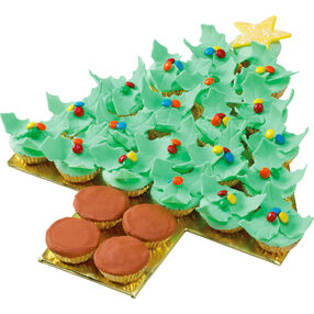 Holiday Holly Tree Cupcakes