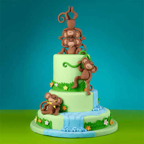 Monkeying Around The Waterfall Cake