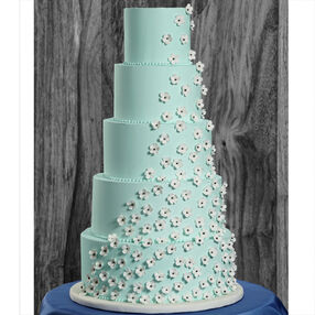Bubbling-Over Blossoms Wedding Cake