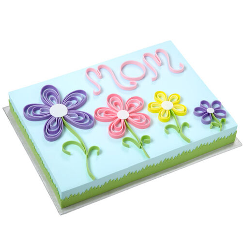 Quilling Flower Sheet Cake for Mom